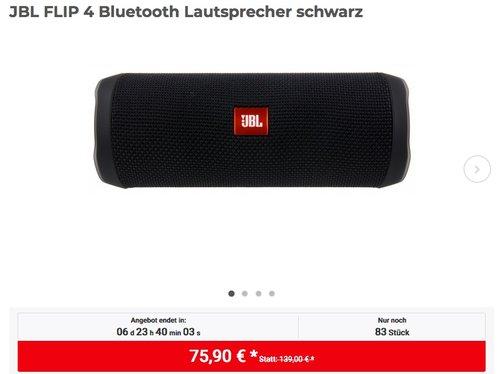JBL FLIP 4 Bluetooth Lautsprecher in Schwarz - jetzt 15% billiger