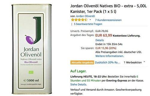 Jordan Olivenöl Natives BIO - extra - 5,00L Kanister - jetzt 20% billiger