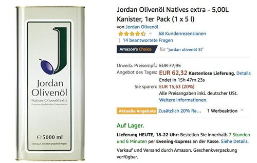 preview of lower price with new arrivals Jordan Olivenöl Natives extra - 5,00L Kan... für 63,99€ (-18%)
