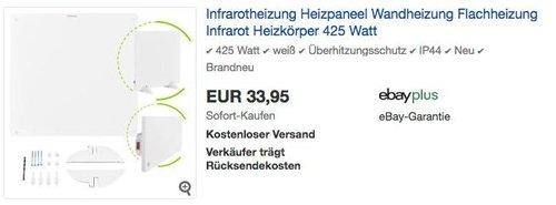 Juskys Infrarotheizung Heizpaneel 425 Watt - jetzt 15% billiger