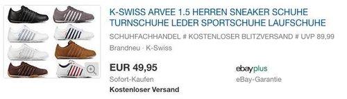 K-Swiss Arvee 1.5 Herren Sneaker in verschiedenen Farben - jetzt 17% billiger