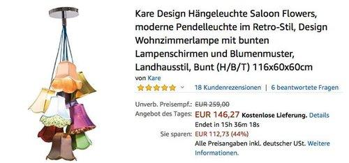 Kare Design Hängeleuchte Saloon Flowers, 116x60x60cm - jetzt 23% billiger