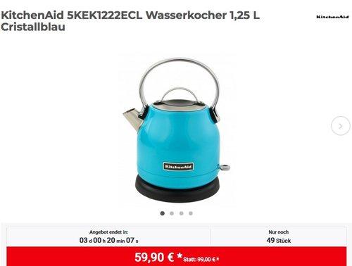 KitchenAid 5KEK1222ECL Wasserkocher 1,25 L Cristallblau - jetzt 14% billiger