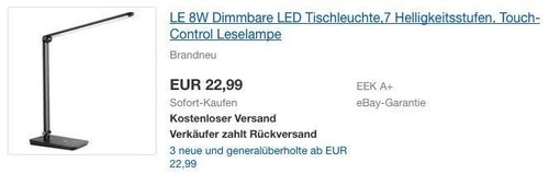 LE 8W Dimmbare LED Tischleuchte mit Touch-Control - jetzt 23% billiger