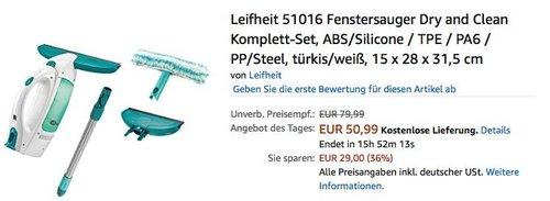 Leifheit 51016 Fenstersauger Dry and Clean Komplett-Set - jetzt 24% billiger