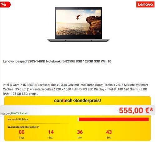 Lenovo Ideapad 320S-14IKB 14 Zoll Notebook i5-8250U 8GB 128GB SSD Win 10 - jetzt 10% billiger