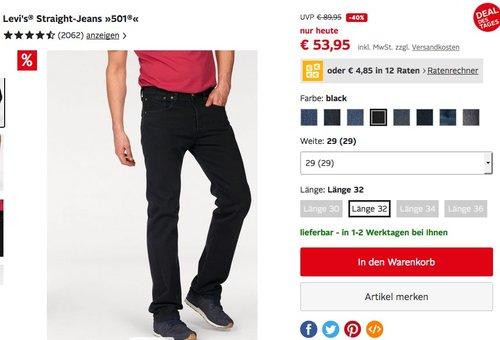Levi's® Herren Jeans 501 Straight-fit/gerade Form in verschiedenen Farben - jetzt 8% billiger