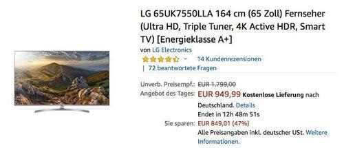 LG 65UK7550LLA 164 cm (65 Zoll) Ultra-HD Fernseher - jetzt 15% billiger