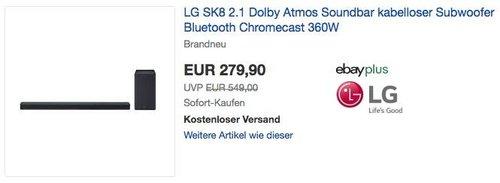LG SK8 2.1 Dolby Atmos Soundbar 360W mit drahtlosem Subwoofer - jetzt 26% billiger