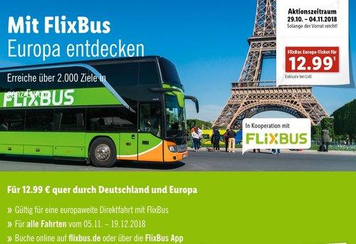 LIDL-Aktion: FLIXBUS 12,99€ Ticket für Einzelfahrt quer Deutschland und Europa - jetzt 72% billiger