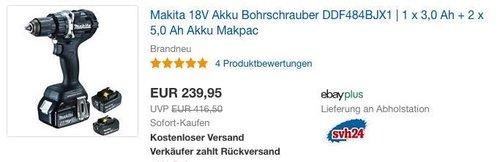 Makita 18V Akku-Bohrschrauber DDF484BJX1inkl. 1 x 3,0 Ah + 2 x 5,0 Ah Akku - jetzt 13% billiger