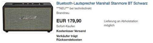 MARSHALL Stanmore Bluetooth Lautsprecher in Schwarz - jetzt 19% billiger