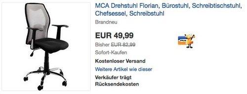 MCA Bürostuhl Florian in Silber/Grau - jetzt 37% billiger