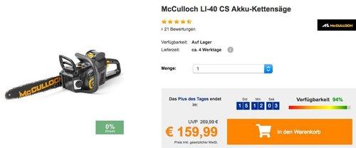 McCulloch LI-40 CS Akku-Kettensäge mit 35 cm Schwertlänge - jetzt 21% billiger