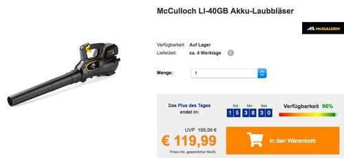 McCulloch LI-40GB Akku-Laubbläser in Schwarz/Orange - jetzt 33% billiger