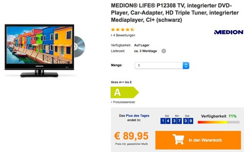 """MEDION® LIFE® P12308 39,6 cm (15,6"""") Fernseher mit integriertem DVD-Player - jetzt 24% billiger"""