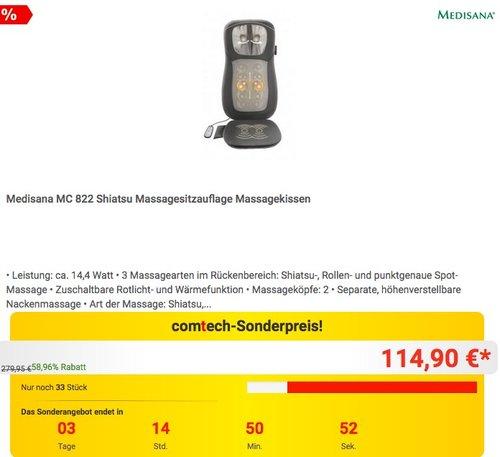 Medisana MC 822 Shiatsu Massagesitzauflage - jetzt 15% billiger