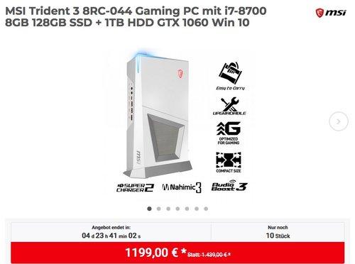 MSI Trident 3 8RC-044 Gaming PC mit i7-8700 8GB 128GB SSD + 1TB HDD GTX 1060 Win 10 - jetzt 13% billiger