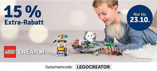 myToys.de 15% Extra-Rabat auf Artikel der Marke LEGO Creator: z.B. LEGO 10254 Creator: Festlicher Weihnachtszug - jetzt 14% billiger