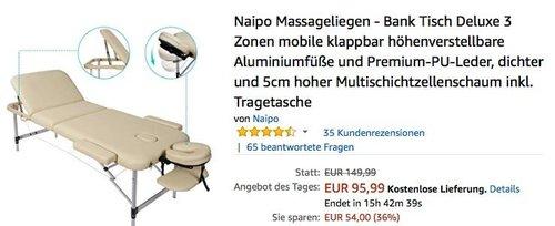 Naipo Massageliegen - Bank Tisch Deluxe3 Zonen inkl. Tragetasche - jetzt 36% billiger