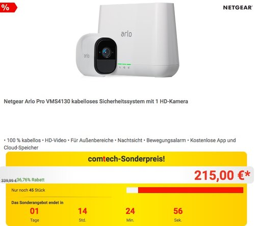 Netgear Arlo Pro VMS4130 kabelloses Sicherheitssystem mit 1 HD-Kamera - jetzt 20% billiger