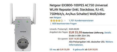 Netgear EX3800-100PES AC750 Universal WLAN Repeater bis zu 750 Mbit/s - jetzt 18% billiger