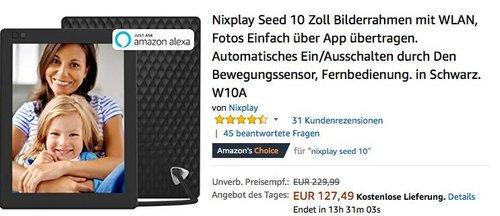 Nixplay Seed 10 Zoll Bilderrahmen mit WLAN - jetzt 15% billiger