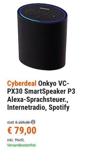 Onkyo VC-PX30 Smart Lautsprecher P3 mit Amazon Alexa, Spotify, Internetradio - jetzt 20% billiger