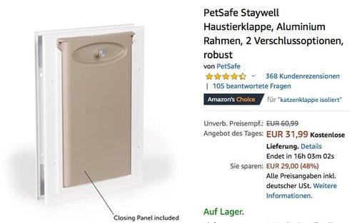 PetSafe Staywell Haustierklappe in Größe S (max. Schulterbreite 13,2 cm) - jetzt 20% billiger