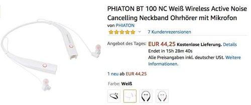 PHIATON BT 100 NC Wireless Active Noise Cancelling Neckband Ohrhörer mit Mikrofon - jetzt 47% billiger