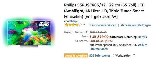 Philips 55PUS7803/12 139 cm (55 Zoll) 4K Ultra HD Fernseher mit 3-seitigem Ambilight - jetzt 6% billiger