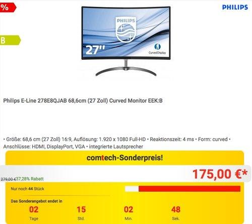Philips E-Line 278E8QJAB 68,6cm (27 Zoll) Curved Monitor - jetzt 17% billiger