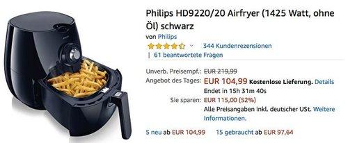 Philips HD9220/20 Airfryer/Heißluftfritteuse 1425 Watt - jetzt 18% billiger