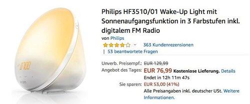 Philips HF3510/01 Wake-Up Light mit Sonnenaufgangsfunktion in 3 Farbstufen inkl. digitalem FM Radio - jetzt 14% billiger