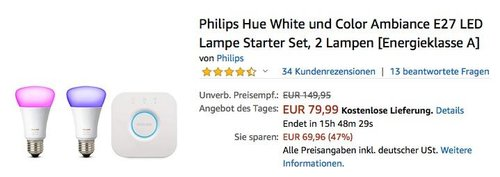 Philips Hue Starter Set: 2x Philips Hue White and Color LED Lampen inkl. Hue Bridge - jetzt 16% billiger