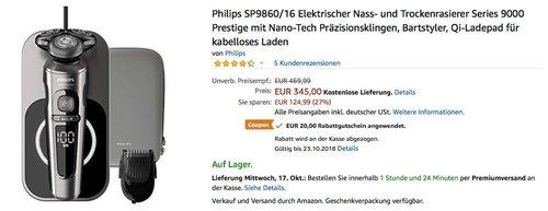 Philips SP9860/16 Elektrischer Nass- und Trockenrasierer Series 9000 - jetzt 6% billiger
