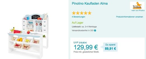 Pinolino Kaufladen Alma - jetzt 11% billiger