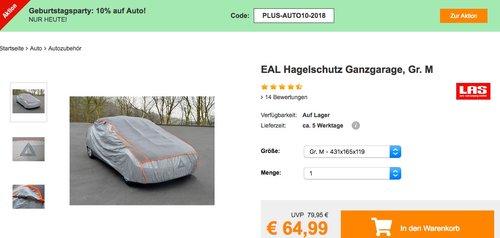 Plus.de - 10% Rabatt auf Autozubehör: z.B. EAL Hagelschutz Ganzgarage in Gr. M - jetzt 10% billiger