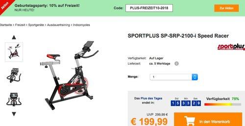 Plus.de - 10% Rabatt auf  Freizeitartikel: z.B. SPORTPLUS SP-SRP-2100-i Speed Racer Fahrradtrainer - jetzt 28% billiger