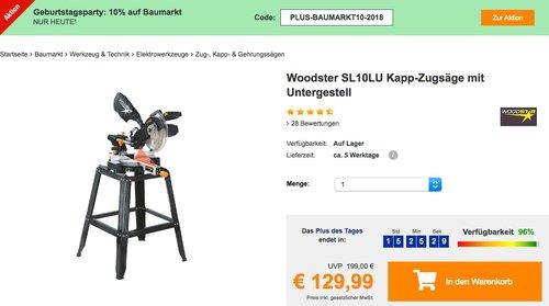 Plus.de - 10% Rabatt auf Baumarkt: z.B. Woodster SL10LU Kapp-Zugsäge mit Untergestell - jetzt 22% billiger