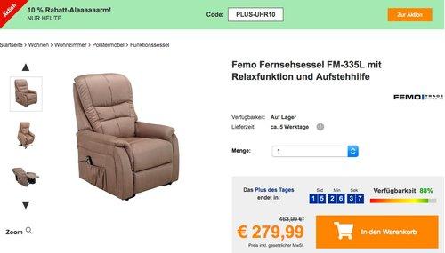 Plus.de - 10% Rabatt auf fast alles am 28.10.18: z.B.Femo Fernsehsessel FM-335L mit Relaxfunktion und Aufstehhilfe - jetzt 46% billiger