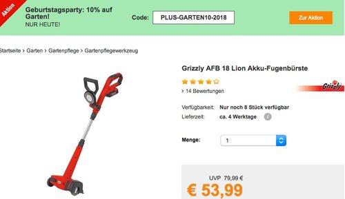 Plus.de - 10% Rabatt auf Garten: z.B. Grizzly AFB 18 Lion Akku-Fugenbürste - jetzt 10% billiger