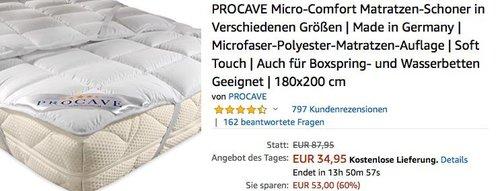 PROCAVE MICRO-COMFORT Matratzen-Schoner 180x200 cm - jetzt 31% billiger