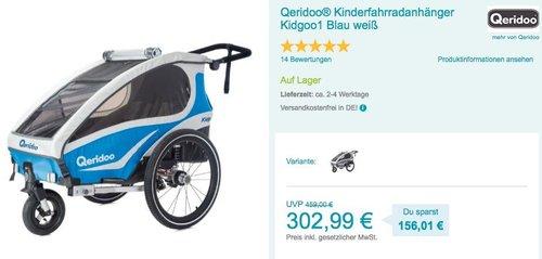 Qeridoo ® Kinderfahrradanhänger Kidgoo1 Blau/Weiß - jetzt 28% billiger