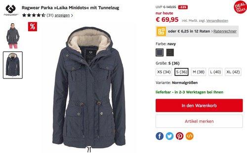 """Ragwear Damen Parka """"Laika Minidots"""" mit Tunnelzug - jetzt 37% billiger"""