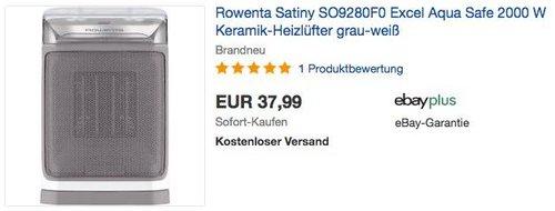Rowenta SO9280F0 Excel Aqua Safe Keramik-Heizlüfter - jetzt 22% billiger
