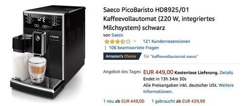 Saeco PicoBaristo HD8925/01 Kaffeevollautomat in Schwarz - jetzt 23% billiger