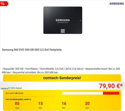 Samsung 860 EVO 500 GB interne SSD-Festplatte - jetzt 6% billiger
