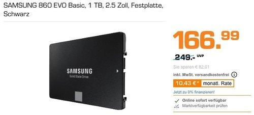 SAMSUNG 860 EVO Basic 1 TB interne SSD-Festplatte - jetzt 14% billiger