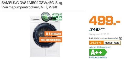 SAMSUNG DV81M50103W/EG 8 kg Wärmepumpentrockner, A++ - jetzt 6% billiger